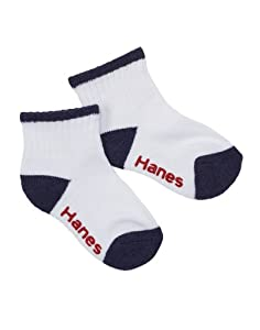 Hanes Toddler Boys Non-Skid Ankle Socks, 6 Pack, Assorted Colors, 4T/5T