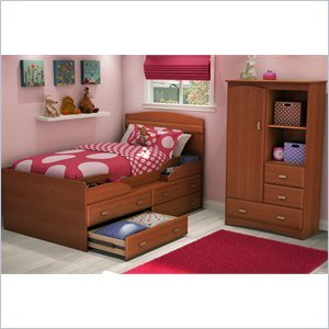 Cheap South Shore Imagine Kids Twin Captain's Bed 4 Piece Bedroom Set in Morgan Cherry Finish (3576214-4PKG)