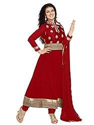Varanga Red Faux georgette anarkali semi stitched salwar suits KFASH11001-A