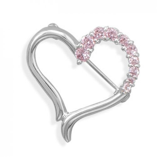 MMA Silver - Cut Out Heart Design Fashion Pin with Pink CZs
