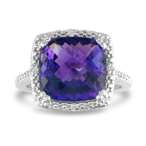 4ct Amethyst and Diamond Ring set in Sterling Silver (Sizes 4-9)