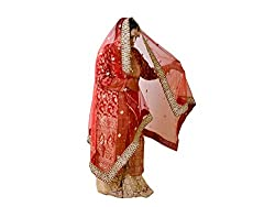 Dulhan Choice Red color Tashan Net Bridal Dupatta