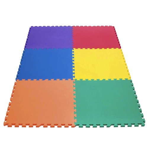 Wonder Mat 6 Piece Non-Toxic Non-Recycled Extra Thick Rainbow Playmats, Red/Orange/Yellow/Green/Blue/Purple, 24