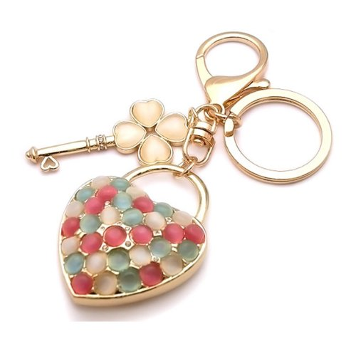 Keyring with Rhinestone pink bag charm Jerry Hart of happy bomb Happy Bomb beautiful charm accessories.