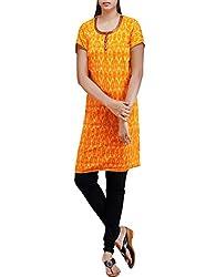 Unnati Silks Women Pracheen kala yellow Pochampally cotton kurti