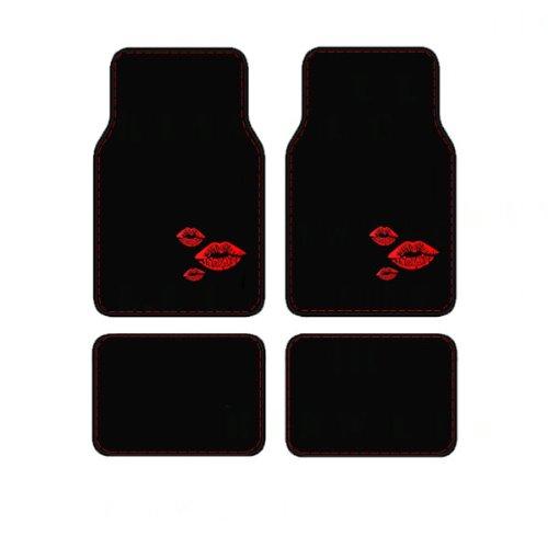 4 Piece Carpet Floor Mats In Kiss Design - Red Lips front-140354