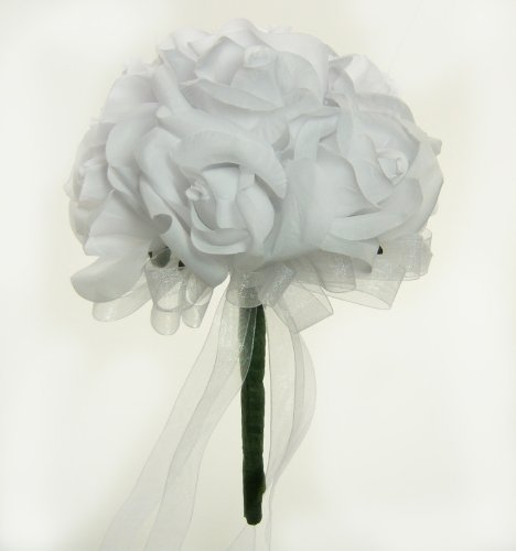 White Silk Rose Toss Bouquet - Wedding Bouquet