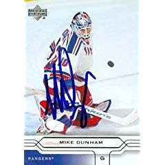 Buy Mike Dunham Autographed Hand Signed Hockey Card (New York Rangers) 2004 Upper Deck #119 by Hall of Fame Memorabilia