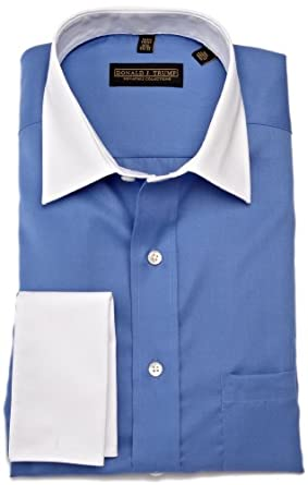 Trump Men's Spread Collar Twill Solid Woven Shirt,Blue,17.5 36 37