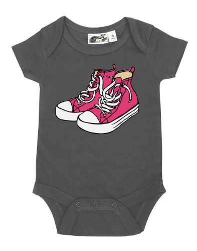 Sneakers Charcoal & Pink One Piece 3-6 Months