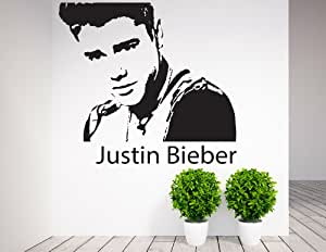justin bieber wall art celebrity icons famous people vinyl sticker wall art deco decal. Black Bedroom Furniture Sets. Home Design Ideas