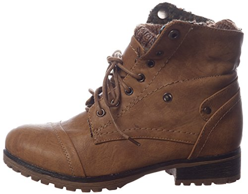Refresh Wynne-01 Combat Style Lace Up Faux Leather Booties for Women,Tan,10