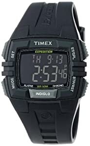 Timex Men's T49900 Expedition Rugged Wide Digital Chrono Alarm Timer All Black Resin Strap Watch