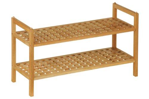 Premier Housewares 40 x 70 x 27 cm 2 Tier Walnut Wood Shoe Rack