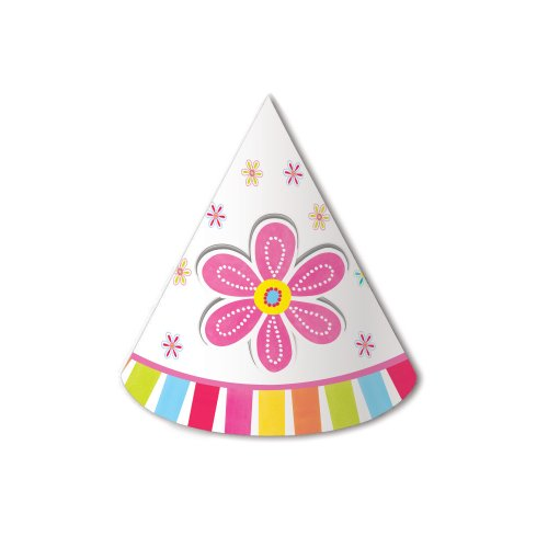 Creative Converting Pink Flower Cheer 8 Count Child Party Hats