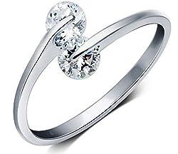 Karatcart Platinum Plated Trendy Elegant Austrian Crystal Adjustable Ring For Women