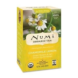 NUMI Organic Tea Herbal Tea, Organic, 18 Bags/BX, Chamomile Lemon SKU-PAS931517