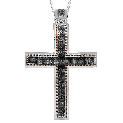 10K White Gold Mens Diamond Cross Pendant  Black