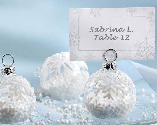 """Snow Flurry"" Flocked Glass Ornament Place Card/Photo Holder (Set of 288) - Baby Shower Gifts & Wedding Favors"