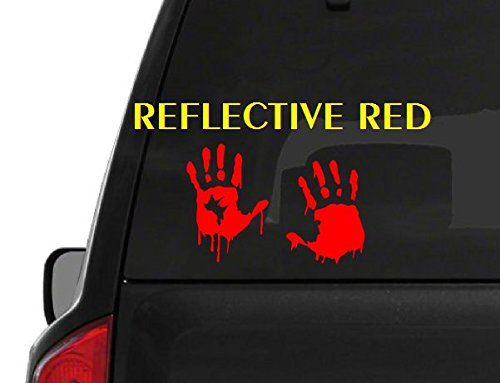 Set of 2 Red Reflective Bloody Hand Print (M49) Zombie Outbreak Vinyl Decal Sticker Car/Truck Laptop/Netbook Window (Zombie Laptop Decal compare prices)