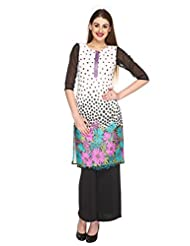 Fashion205 White And Black Printed Georgette Embroidered Long Kurti - B00ZL835XK