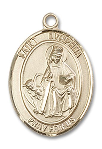 "Gold Filled St. Saint Dymphna Pendant 3/4 X 1/2"" Inches 8032Gf--Comes With 18"" Inch Gold Filled Lite Curb Chain In A Grey Velvet Gift Box Patron Saint Of Mental Illness/Runaways"