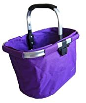 bicycle basket LILA purple aluminum and textile with Bracket - Dual Front Quick Release Basket, Removable, padded handle, Collapsible for storage, , LILA by Biria