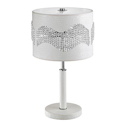 Lumetto in ecopelle champagne con cristalli K9 Cm D 22xH 45 Lampada 1xE27
