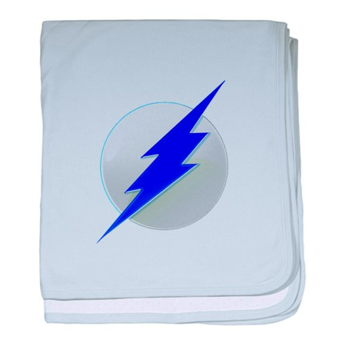 Cafepress Blue Lightning Superhero Baby Blanket - Standard back-504827