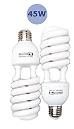 StudioPRO 2x 45W CFL Energy Saving Photo Fluorescent Spiral Daylight Light Bulbs, 2 Pack