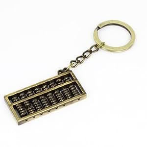 Bronze Tone 2x 0.9Abacus Shaped Pendant Metal Keyring Keychain Ornament
