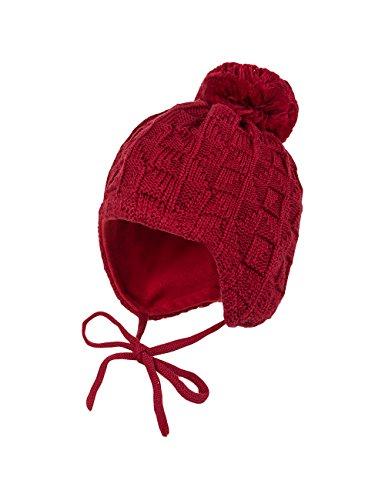 maximo Mütze, Ausgenäht, Struktur, Bommel, Bindeband, Cappellopello Bambina, Rosso (Richelieu 6), 47 cm