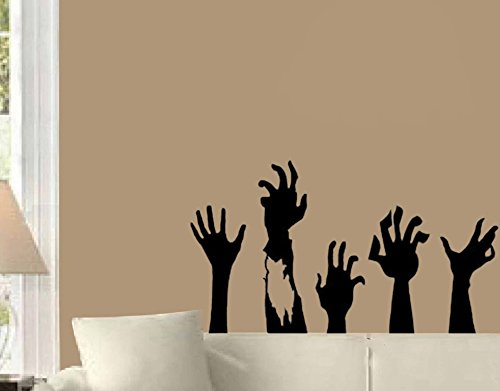 Zombie Hands huge Halloween Wall Decal Black 40