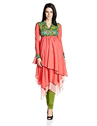 Rain and Rainbow Women's Kurta (56001-SS/111-06_Coral_Small)