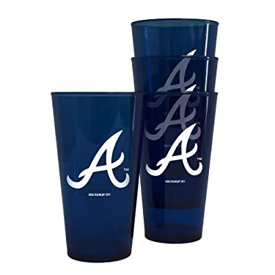 MLB Atlanta Braves 16-Ounce Colored Plastic Pints (4 Pack)
