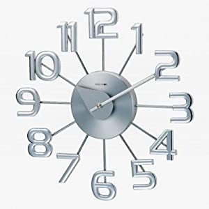 Amazoncom telechron clocks ultra modern numeral wall for Silver wall clocks modern