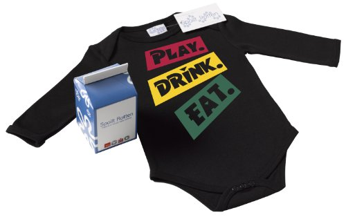 Spoilt Rotten - Play. Drink. Eat. Baby Babygrow Alternative Baby Clothes 100% Organic Sizes 0-6 months BLACK + in funky Milk Carton
