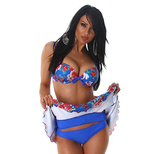Donne Bikini Top slittamento della roccia 3 pezzi Fiore Push-Up Fiore costume da bagno di disegno d'avanguardia Blu 38/40