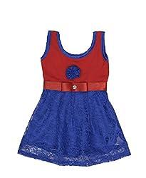 RoopRahasya Girls' Net Designer Dress Frock_RDBU121_7Y_Red & Blue
