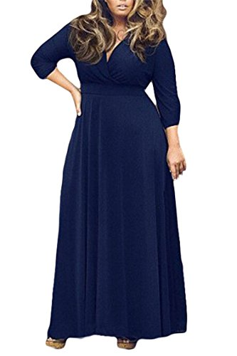 Women's Solid V-Neck 3/4 Sleeve Plus Size Evening Party Maxi Dress XL Navy Blue