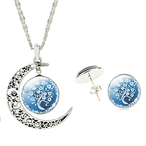 girls-light-blue-snow-flowering-tree-glass-cabochon-pendant-necklace-earrings-jewelry-set