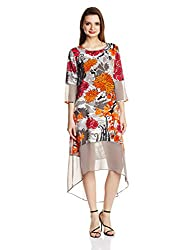 Rain and Rainbow Women's Shift Dress (4301-SS/02-19_Multi color_Small)