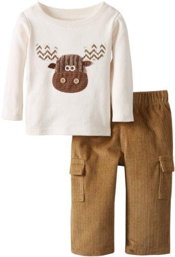 Mud Pie Baby-Boys Newborn Moose Pant Set, Multi, 9-12 Months front-1032886