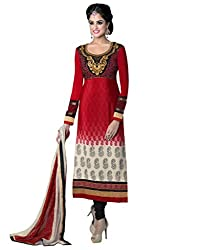 Inddus Attractive Red Embroidered French Crepe Semistitched Salwar Kameez with Chiffon Dupatta