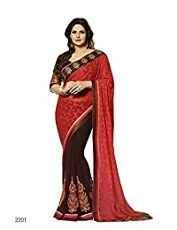Aarti Latest Fashionable Party Wear Fancy Saree Bridal Embroidery Saree Wedding Wear Free Size - B00XA080PY