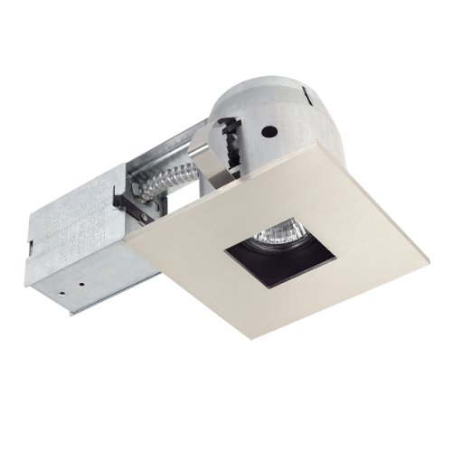 Globe Electric 90667 4 Inch Recessed Lighting Kit, Die-Cast Regressed Swivel, Square Shape, Brushed Nickel, Spot Light