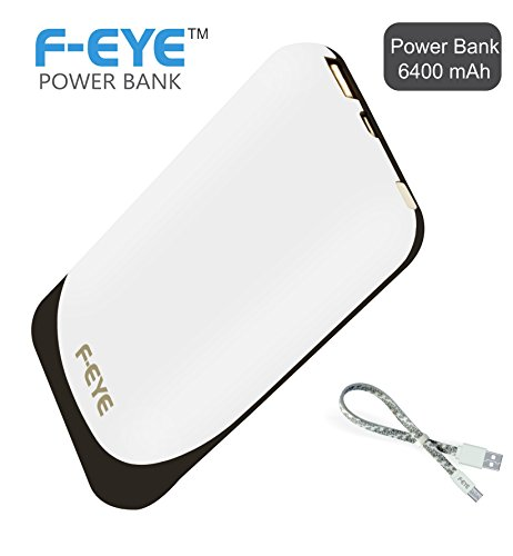 FEYE® Power Bank Charger 6400mAh Compact Size External Battery Pack travel charge High Capacity with 96% conversion rate-7 layer protection for Mobile Phones, Smartphones, Tablets, Apple iphone 4, iphone 5, iPhone 5c, iPhone 6, iPhone 6+ , iPad Air, iPad mini 3, iPad 2., Sumsung Note 5, Samsung Galaxy Tab A , Grand Max, S6 Edge , Grand Prime, Grand Max, Grand Prime, Grand Neo, SDuos,Pocket Neo, J5, Star Advance, Mega 2, Mega 5.8, Mega 6.3, Prime 4G, Core Prime, J1, Note 3, Note 2, Note Edge, Alpha, E5, Note 4, A5, A7, Note Edge,S5, A7, S6, S4 mini, Grand Neo Plus, S3, Nokia Lumia, Sony Experia, Blackberry, HTC, Micromax, Karbonn, LG, Lava, Gionee, Motorola, Spice, Lenovo, Iball, Celkon, Panasonic, Intex, Huawei, Maxx, Xiaomi, Xolo, Asus, Zen Mobile, Yureka, Onida, Oppo, Alcatel, digital camera, tablet and other 5volt USB chargeable devices
