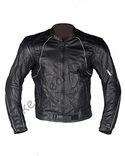 CE Approved Armoured Quality Leather Motorcycle Biker Racing Jacket - 3XL