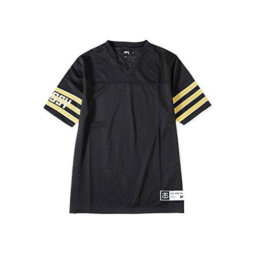 (ステューシー) STUSSY Sleeve Stripe Football 114821 Mサイズ ブラック ステューシー フットボールシャツ 半袖 メンズ スポーツ [並行輸入品]