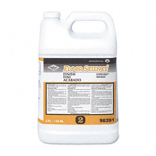 "Floor Science Products - Floor Science - Finish, 1 gal Bottle - Sold As 1 Each - Synthetic polymer floor finish/sealer produces a ""wet look"" gloss. - Repairs easily and resists scuffs, sratches and heel marks. - For conventional, high-speed and ultra high-speed machines. - Dries fast, no sealer requried. - Coverage: 2,000-2,500 sq. ft. per bottle."